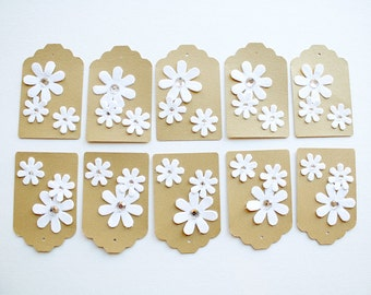 Gold & White Flower - Gift Tags (Set of 10)