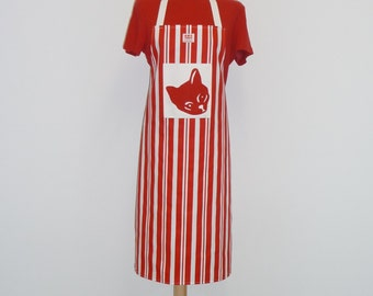 Red Cat Butcher Stripe Apron - screen printed by hand