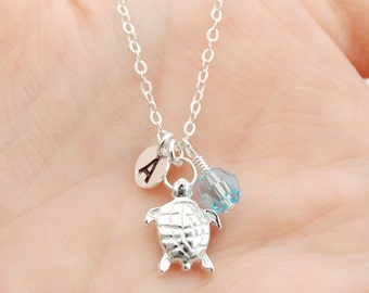 Personalized Turtle Charm Necklace with Birthstone, Sterling Silver Turtle Necklace, New Mom Gift, Mothers Necklace, Turtle Jewelry