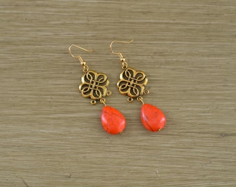 Orange and Gold Teardrop Stone Earrings - Orange and Gold Statement Earrings - Gold Clover Earrings