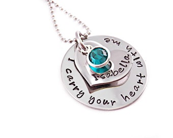 Personalized Infant Baby Memorial Necklace - I Carry Your Heart With Me - Infant Loss - Child Loss - Baby Loss - Pregnancy Loss - Miscarriag