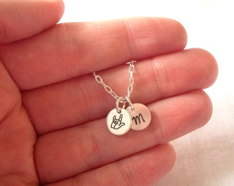 Personalized I Love You Necklace -- sterling silver, personalized, asl, I love you, initial -- MADE TO ORDER