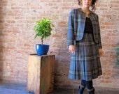 Vintage XS Womens Plaid Wool Suit Mad Men 1960s