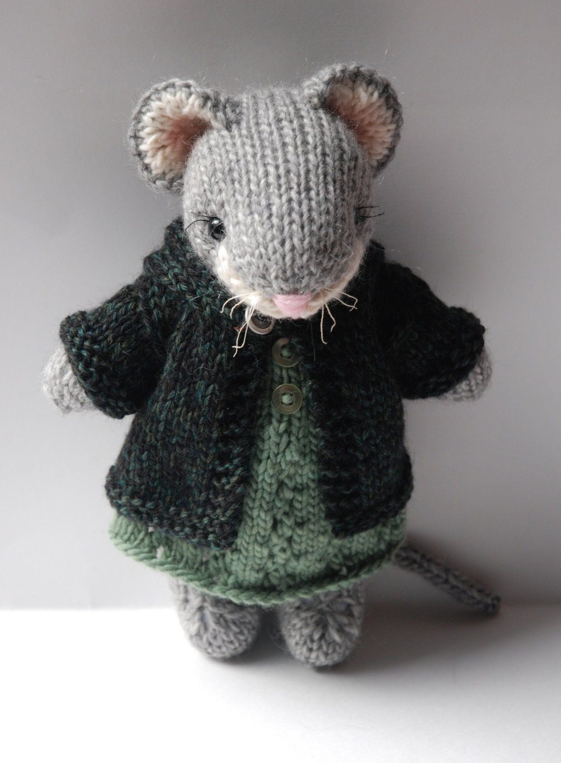 Knitted Woodland Mouse Toy in Autumn Dress and Tweed Hoodie