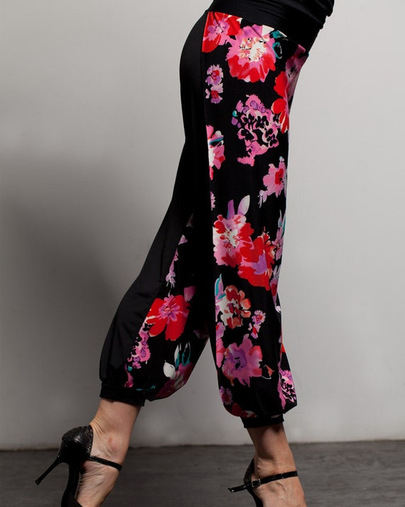 "Argentine Tango Babucha Pants with side slits  - ""Flowers"""