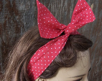 DOLLY BOW red polka dot bow wire headband head wrap wire hair tie retro pinup girl cotton fabric 50s scarf Rosie the Riveter adjustable