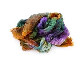 Bearded Iris -  lavender, purple, green, orange, brown silk  scarf.