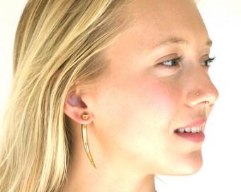 Fake Gauge Earrings - for standard size piercings - talon earrings, spear earrings  -  Brass with Sterling Silver posts- Large Talons
