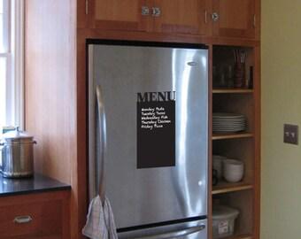 Chalkboard Removable Vinyl Menu Includes Marker, refrigerator menu refrigerator chalkboard meal organization shopping list kitchen decor
