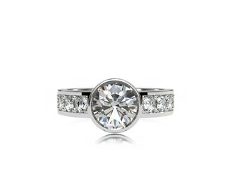 1.80ct Diamond engagement ring, diamond ring, bezel, micro pave, solitaire, engagement ring, unique, wedding ring