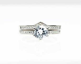 engagement ring set, white sapphire engagement, Diamond band, wedding ring set, white gold, sapphire, pave, solitaire, diamond engagement