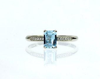 Emerald cut Aquamarine engagement ring, diamond engagement ring, solitaire, aquamarine wedding, vintage style, blue engagement, light blue