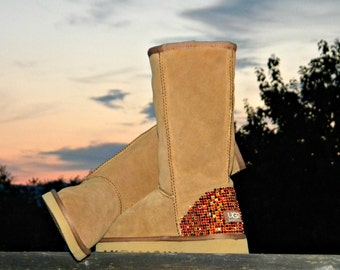 Custom Crystal Boots Tall style UGG or Suede Fleece Wool w/ Swarovski Autumn in New England  Rhinestone Bling Winter Fall Multi Color Shoes
