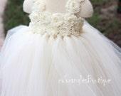 Ivory tutu dress flower girl dress Girl Dress Baby toddler birthday Party wedding dress 0 -7t