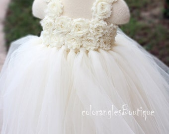 Ivory tutu dress flower girl dress Girl Dress Baby toddler birthday Party wedding dress 0 -7t