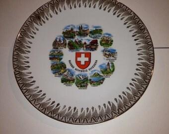 Commemorative Plate Suisse Switzerland Schonwald Plate