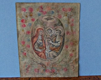 Antique Century Holy Card, Jacobus de Man, St Anna, Jesus and Maria hand painted fine engraving on vellum, Devotional card, Holy card