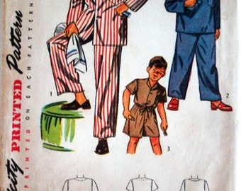 Vintage 1948 Simplicity 2548 Boys' Pajamas 3 Styles Sewing Pattern Size 10  Chest 28""
