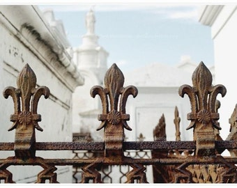 Fleur de Lys Photo - New Orleans Photography - Brown Wall Art - New Orleans Cemetery Photo