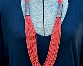 Vintage Red / Coral Beaded Necklace with glass and wooden beads, long