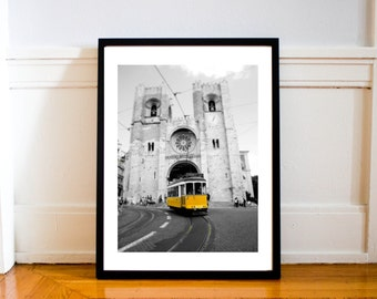 Travel Photography Lisbon Portugal Yellow Cable Car, Europe, Monochrome, Wall Art, Living Room Art