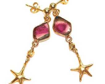 Watermelon Tourmaline Slice Earrings Starfish Earrings Long Earrings Tourmaline Jewelry Tourmaline Earrings Gemstone Jewelry