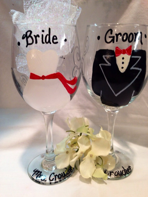 Wedding Gift For Bride And Groom : Bride and Groom Wedding Wine Glasses Wedding Gift Wedding