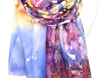 Hand Painted Scarf. Silk Scarf. Multicolour Scarf. Anniversary Birthday Gift. Genuine Silk Art. Woman Echarpe. 18x71in. MADE to ORDER