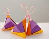 Set 3- Christmas ornaments - Purple Origami pyramids