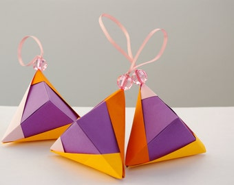 Set of 3 - Christmas ornaments in Purple - Ready to ship!  - Modern design, Origami, Reiki