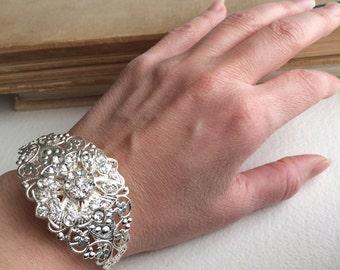 Art Deco Bridal bracelet, bridal jewelry, rhinestone bracelet, cuff Art Nouveau filigree vintage silver rhinestone wedding accessory crystal