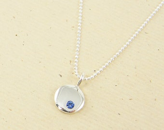 September Birthstone Necklace, Sterling Silver Sapphire Pendant Necklace, September Birthday Gift Silver Blue Charm Necklace |NS4