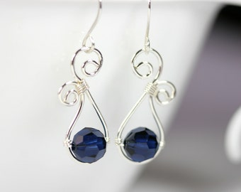 Dark Blue Swarovski Earrings Wire Wrapped Jewelry Handmade Sterling Silver Jewelry Handmade Swarovski Crystal Earrings Swarovski Crystal Jew