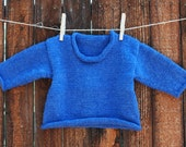 Toddler Baby Back to School Blue Hand Knit Sweater Size 9 to 18 Months