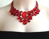 red tulle bib necklace, red rhinestone bib collar necklace