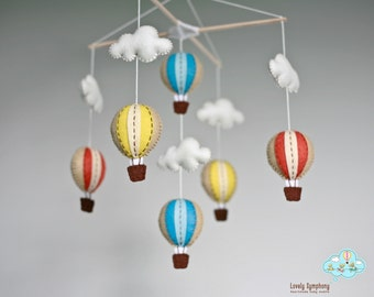 muted color hot air balloons baby mobile - baby mobile - vintage colors.