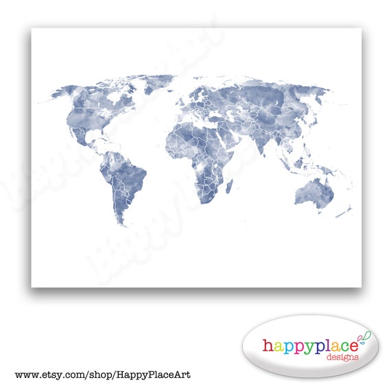 Blue and white world map print for instant download 8x10 or blue and white world map print for instant download 8x10 or 11x14inch watercolour texture large watercolour map jpeg gumiabroncs Gallery