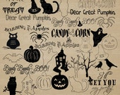 INSTANT DOWNLOAD! Halloween Digital Silhouettes and Outlines PNG Graphic Overlays for Scrapbooking, Photography, and Transfer Projects