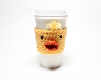 Coffee Cozy Chick, Easter Coffee Sleeve, Animal Crochet Can holder, Java Jacket, Travel Drink Cup Holder