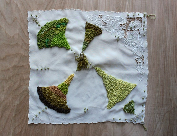 Unruly Embroidery - Contemporary, Handcrafted Embroidery on Vintage Handkerchief by Sarajo Frieden
