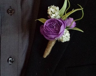 Wedding Boutonniere (Boutineer) - Mixed Flowers with Burlap Twine
