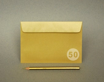"50 4x6 Gold Envelopes for A6 cards - Metallic (The actual size is 4 1/2""x6 3/8"")"