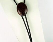 Western Bolo Tie - Natural Dark Red Jasper Bolo Tie - Cowboy Bolo Tie - Boho Bolo Tie - Dark Red Jasper Stone with Tension Clasp