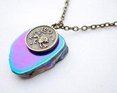 Rainbow agate slice astrology necklace. Aries, Taurus, Gemini, Cancer, Leo, Virgo, Libra, Scorpio, Sagittarius, Capricorn, Aquarius, Pisces.