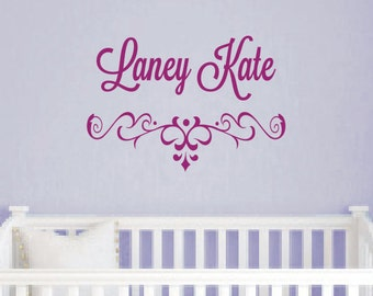 Girl Shabby Chic Wall Decal - Personalized Kids Name Vinyl Wall Decal - Childrens Vinyl Lettering - Girls Room Decor - Baby Nursery Decor