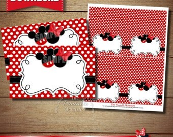 BLANK FOOD TENTS Red Mickey and Minnie Food Tents, Red Mickey & Minnie Place Cards, Party Decorations, Instant Download Food Tents