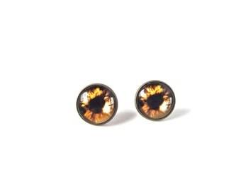 18mm Brown Cat Eye Stud Earrings, Brown Cat Eye Earrings, Brown Eyeball Jewelry, Brown Cat Eye Studs, Brown Eye Jewelry, Brown Eye Earrings