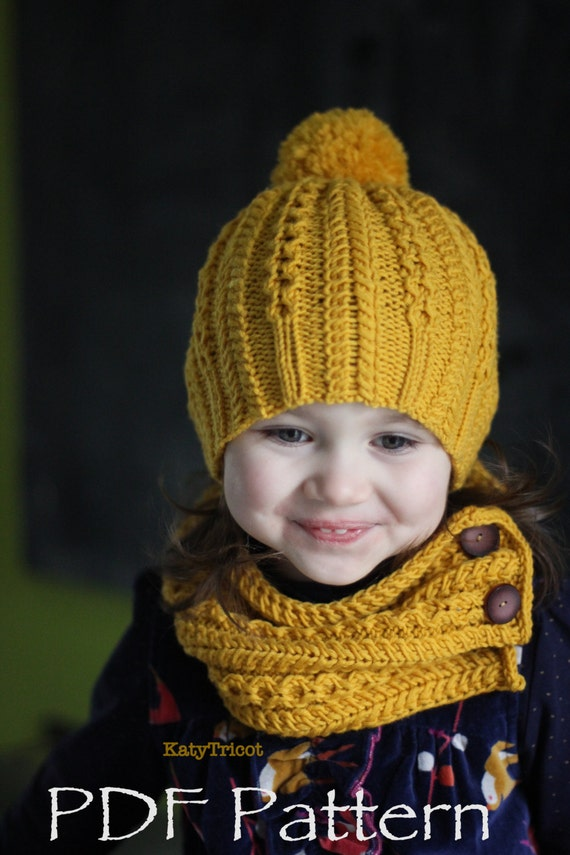 Knitting Pattern For Toddler Hat And Scarf : Knitting PDF Pattern Ropes n Pearls Hat and Scarf by ...