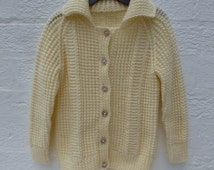 Cardigan girls clothing childs aran knit cardigan wool clothes vintage handmade clothing chunky cardigan winter fishermans clothes 90s kids.