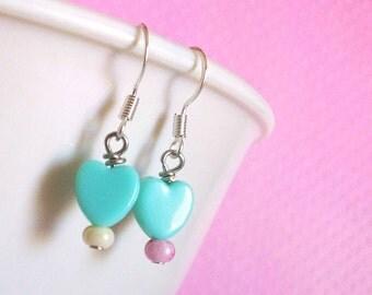 Kawaii Heart Pastel Earrings for Girls, Cute Pastel Goth Fairy Kei Decora Jewelry for Teens